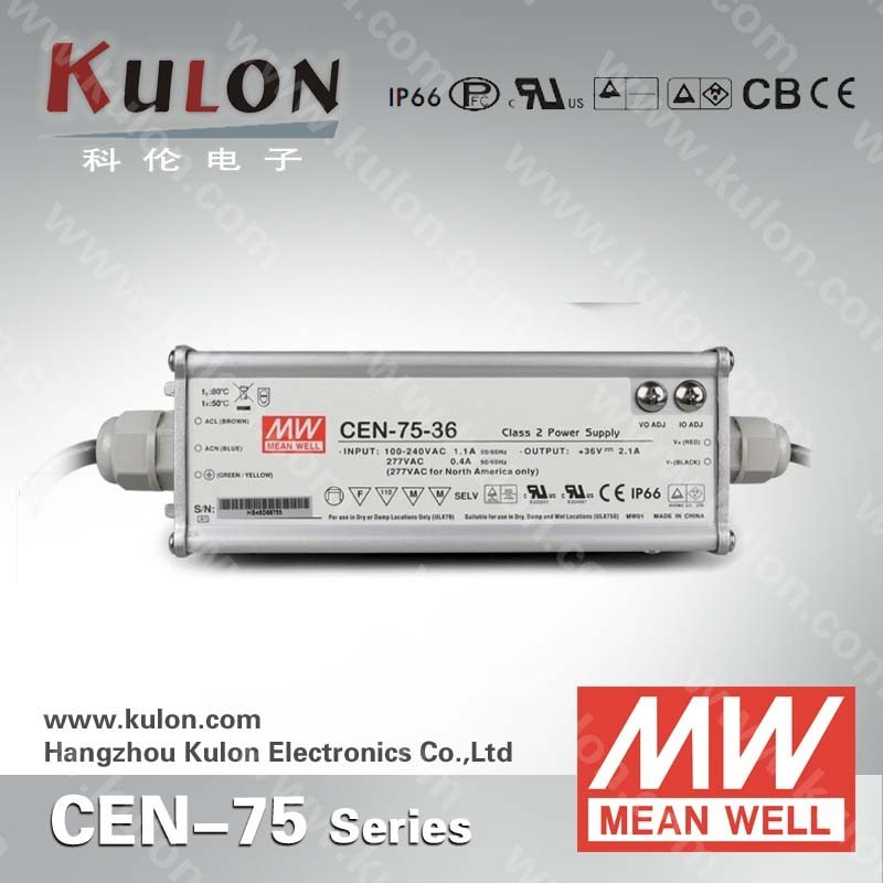 UL approved MeanWell CEN 75w 30v adjustable indoor outdoor installation led driver