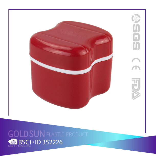 2016 hot selling custom logo stronger Plastic Denture Storage Plastic Box with Net