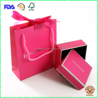Wholesale Custom Made Logo Printed cardboard Jewelry box with carrier Paper Bag