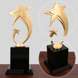 Metal five-pointed star trophy crystal plated award