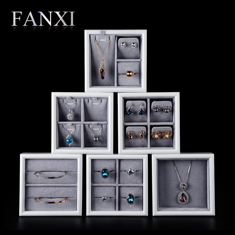 FANXI New Fashion Mutiple White Lacquer Grey Velvet Jewelry Shop Ring Earrings Display Holder Exhibitor Mini Wooden Jewelry Tray