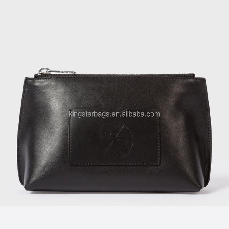 Black Leather Make-Up Bag With Exterior Small slip pocket