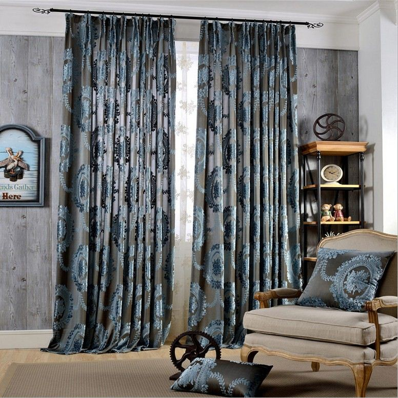2-Pieces Luury Curtain Drapes Set Jacquard Window Curtains For Bed Room Blackout Curtain Drape For Living Room Machine Washable