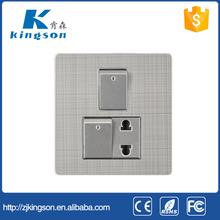 the lastest designed wall socket switch 2 gang switch +1 socket with stainless steel faceplate