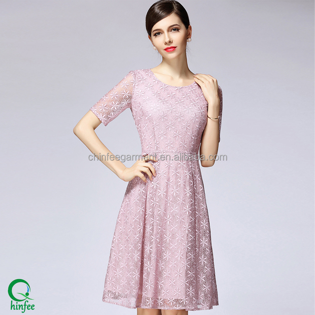 Ladies Clothings Pink Casual Lace Dress For Women