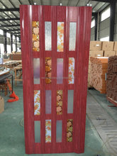 PVC Folding Door White and Color Glass red walnut