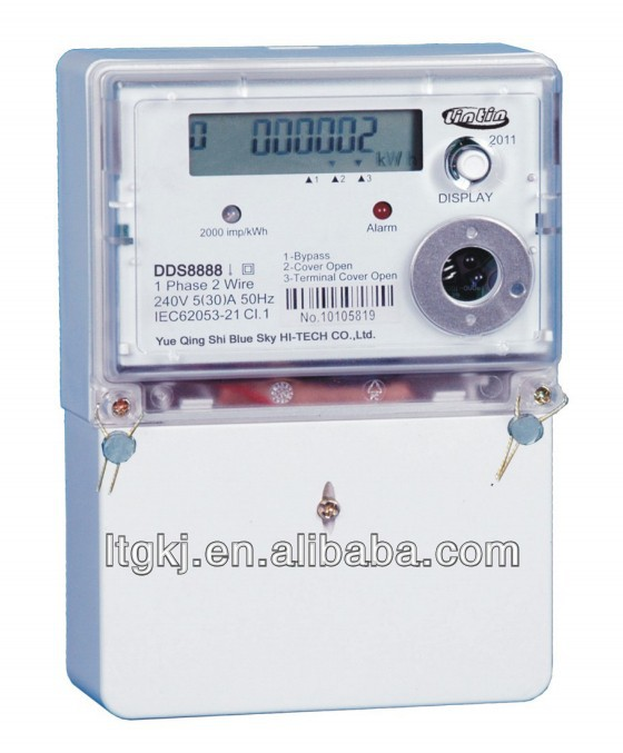 DDS8888 1 phase 2 wire electronic digital long terminal cover RS485/Infrared energy meter/electricity meter/watt hour meter