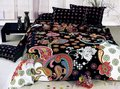 polychrome flowers design black queen bed quilt duet cover sets 4pc