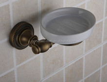 China bathroom accessory Brass antique ceramic dish soap holder