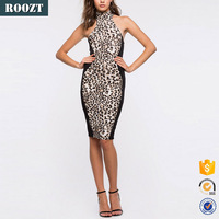 China supplier high quality halter knee length halter sleeveless bodycon sexy dress for women wholesale