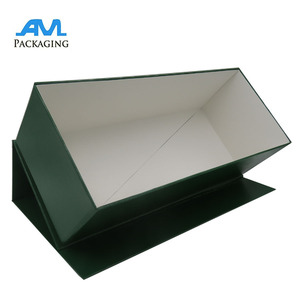 Rigid paper board storage green color collapsible box folded bottom magnet lid