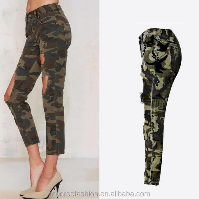monroo women's camouflage hole pants sexy lady ninth jeans