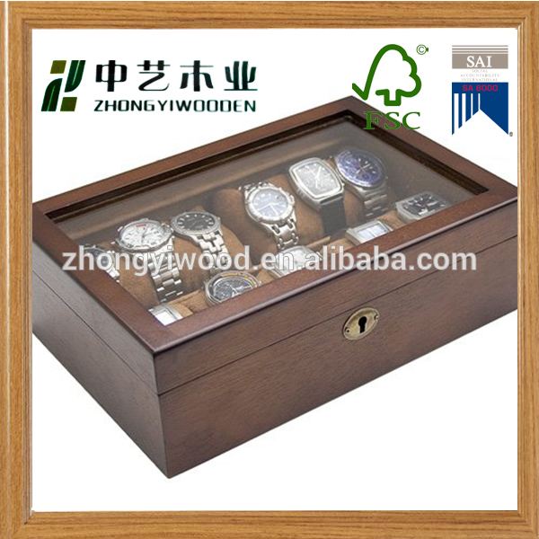 Trade assurance custom luxury handmade wooden watch box gift packaging case wholesale