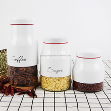 Set 3 White Metal Coated Glass Food coffee Packaging Stoage Jar canister for Herb with Letter