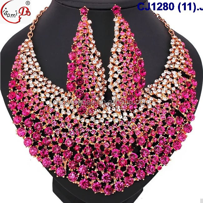African 2016 lady fantastic glass beads golden plated jewelry set for party and important occasions