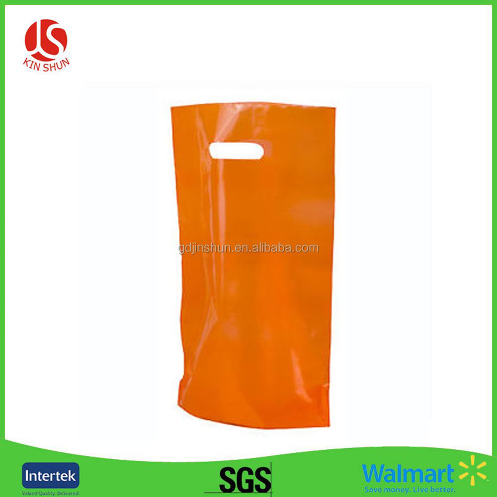 Tall Bag Orange Color Plastic Die Cut Bag without Pattern