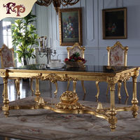 Palace royal furniture-gold leaf European dinging room furniture