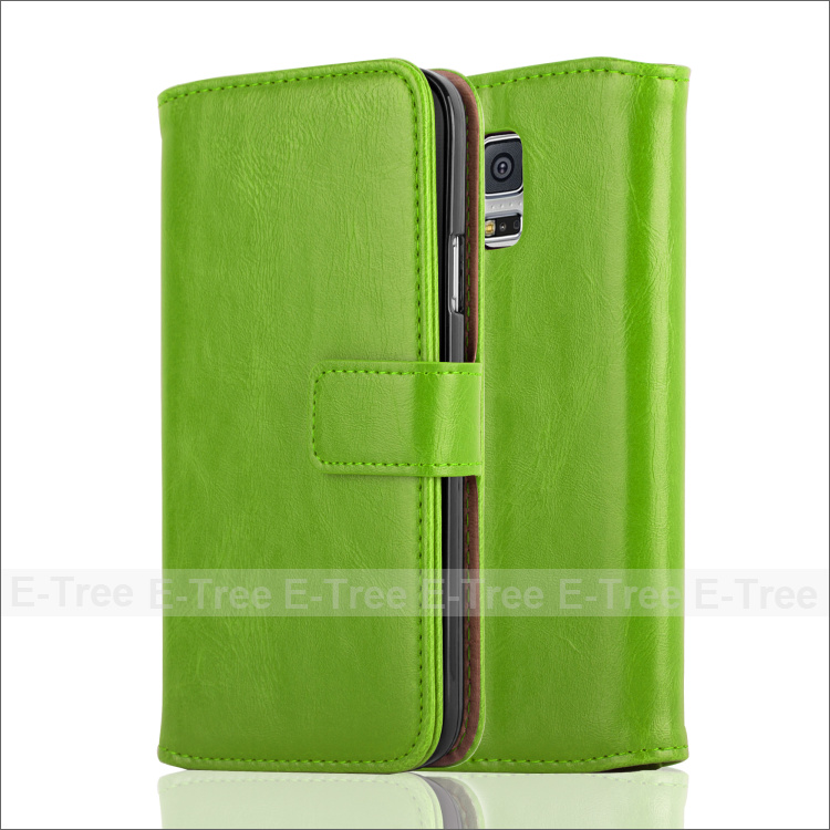 new Luxury Leather Phone Case Folio Cover For Samsung Galaxy S5 i9600