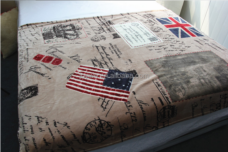 Super soft thick flag and signature flannel fleece blanket made in china