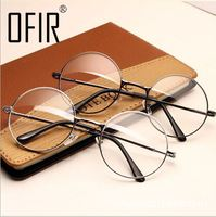 MOON BUNNY Women Vintage Glasses Frame Plain Mirror Big Round Metal Optical Frame For Girl Eyeglass Clear Lens oculos feminino d