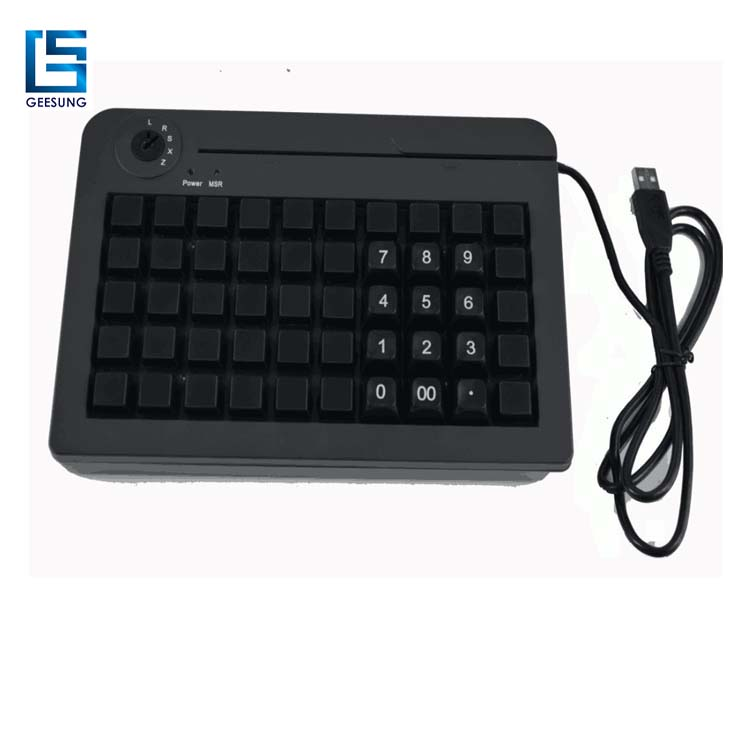 50 Keys Pos Programmable Keyboard/ Membrane Keyboard With Magnetic Card Reader