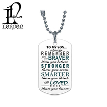 Son Dog Tag Necklace - To My Son Always Remember You Are Braver Than You Believe Dog Tag Necklace - Son Gifts From Dad Mom Pare