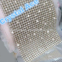 24 lines crystal mesh trims crystal rhinestone applique for wedding dress
