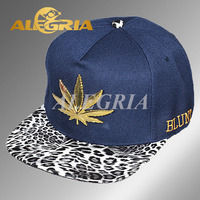 Custom 3d embroidery leopard leather flat brim snapback