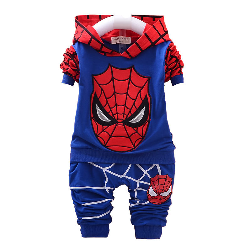 2015 Baby boys spiderman clothing sets autumn kids clothing fashion girls clothes new born baby clothing hoody set new arrival