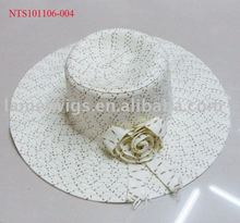 NTS101106-004 Ladies fashion paper straw hats with decoration