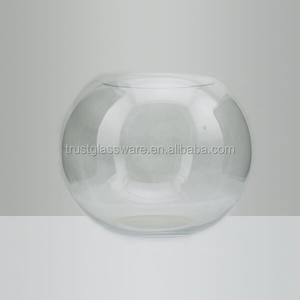 China Factory price hand made 20cm 25cm 30cm Round clear Larger glass fish bowl