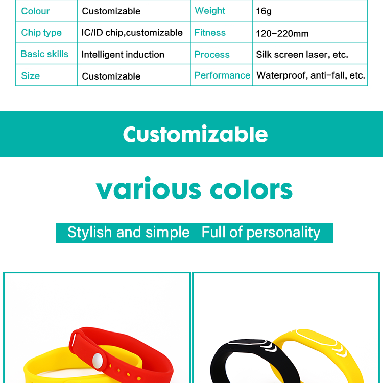 RFID silicone access control wristband 13.56 Mhz nfc silicone rfid bracelets for swimming pool