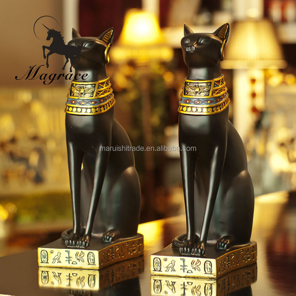 Top class material one pair desk decoration color painting egypt cat resin crafts