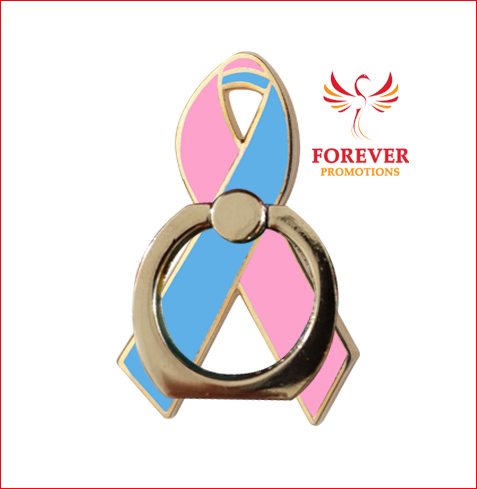2017 NEW Pink Blue Ribbon Mobile Ring Holder 360 Degree Rotated Universal Ring Holder For Mobile Phone Breast Cancer Awareness