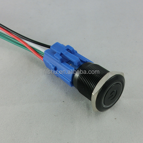 19mm Ring illuminated LED metal push button switch with wire