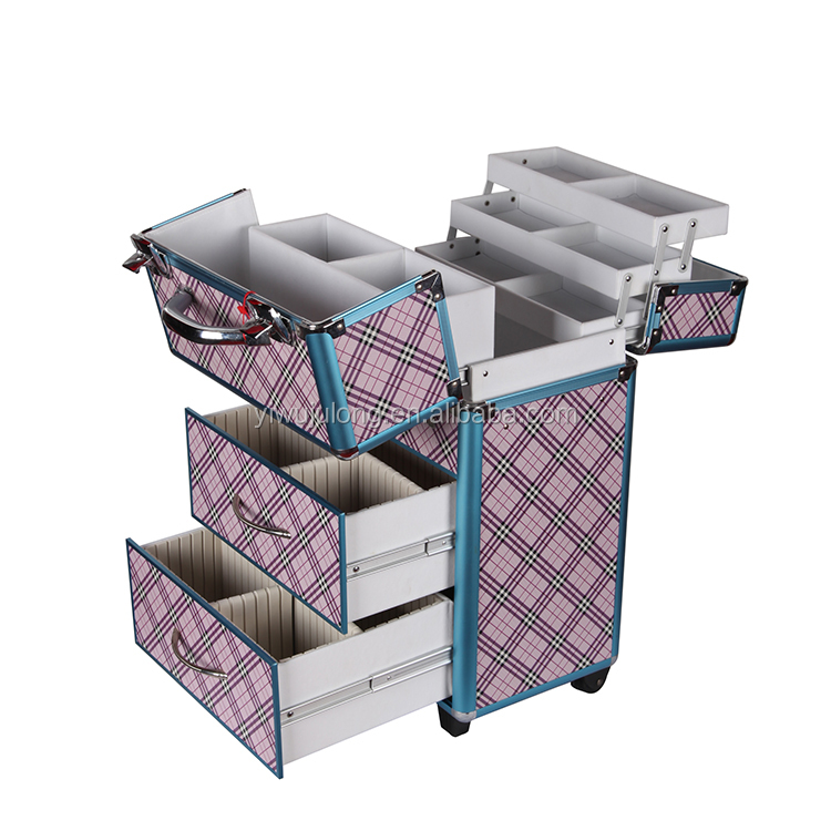 Fashion pink plaid outdoor travel makeup professional cosmetic trolley cases