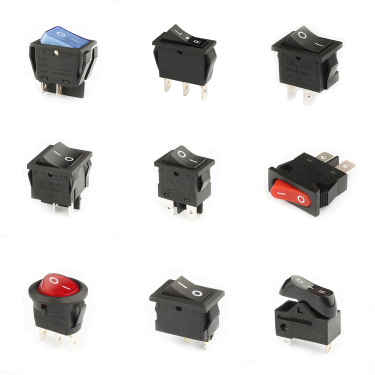 KCD1 16a 250v 2 pin SPST black waterproof small rocker switch