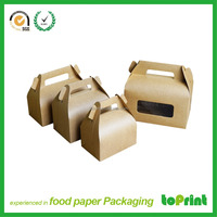 Handle Small Brown Kraft Cake Box with Clear Window