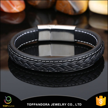 High quality fashion black genuine braided leather stainless steel mens magnetic clasp bracelets