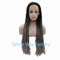 Wholesale ombre grey black wig dark root wig Synthetic micro box braid Lace Front Wig For African American Black Woman