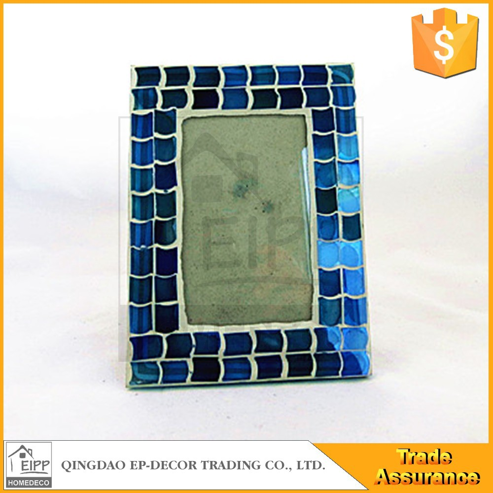Handmade Blue Mosaic Tile Glass Photo Frame