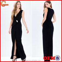 Sexy high leg slit draped front ladies long evening party wear gown dress