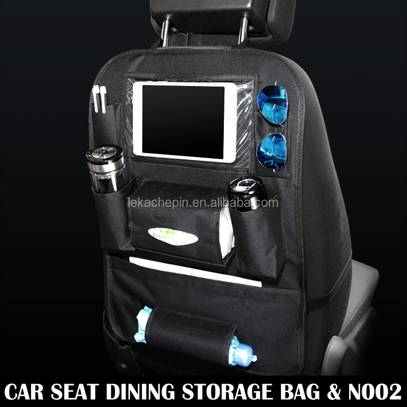 Black Universal Auto Car Back seat Backseat organizer storage bag Pocket Phone iPad Cup holder Tissue box Umbrella bag N02