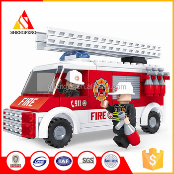 diy model block series educational toy plastic fire brigade toys