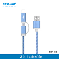 New products 2016 2 in 1 colorful micro braided usb data cable