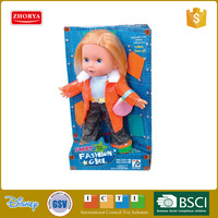 Zhorya children favourite toys sweet and fashion pretty girl doll with sound small size mini kids baby doll
