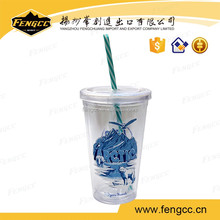 Clear plastic travel insulated mug with insert paper