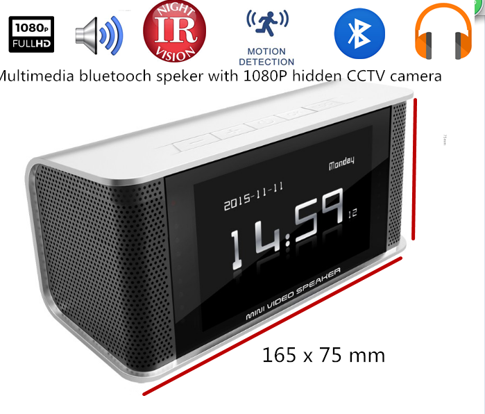 Home security camera clock, Mobile surveillance Camera Clock, Digital Clock & Speaker & FM radio