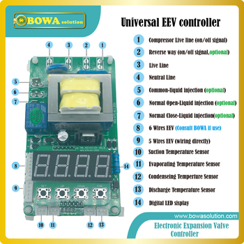 universal EEV controller wonderful for middle and low temperature equipments, with liquid injection control