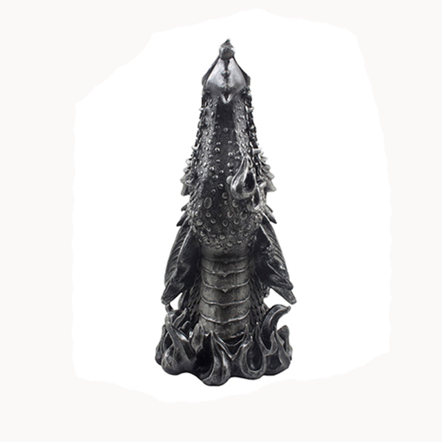Fire Breathing Dragon Incense Holder & Burner Combo Statue for Sticks or Cones with Decorative Display Stand of Flames